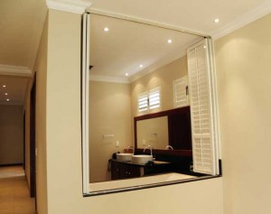 Roller Shutter dividing bathroom space for additional privacy